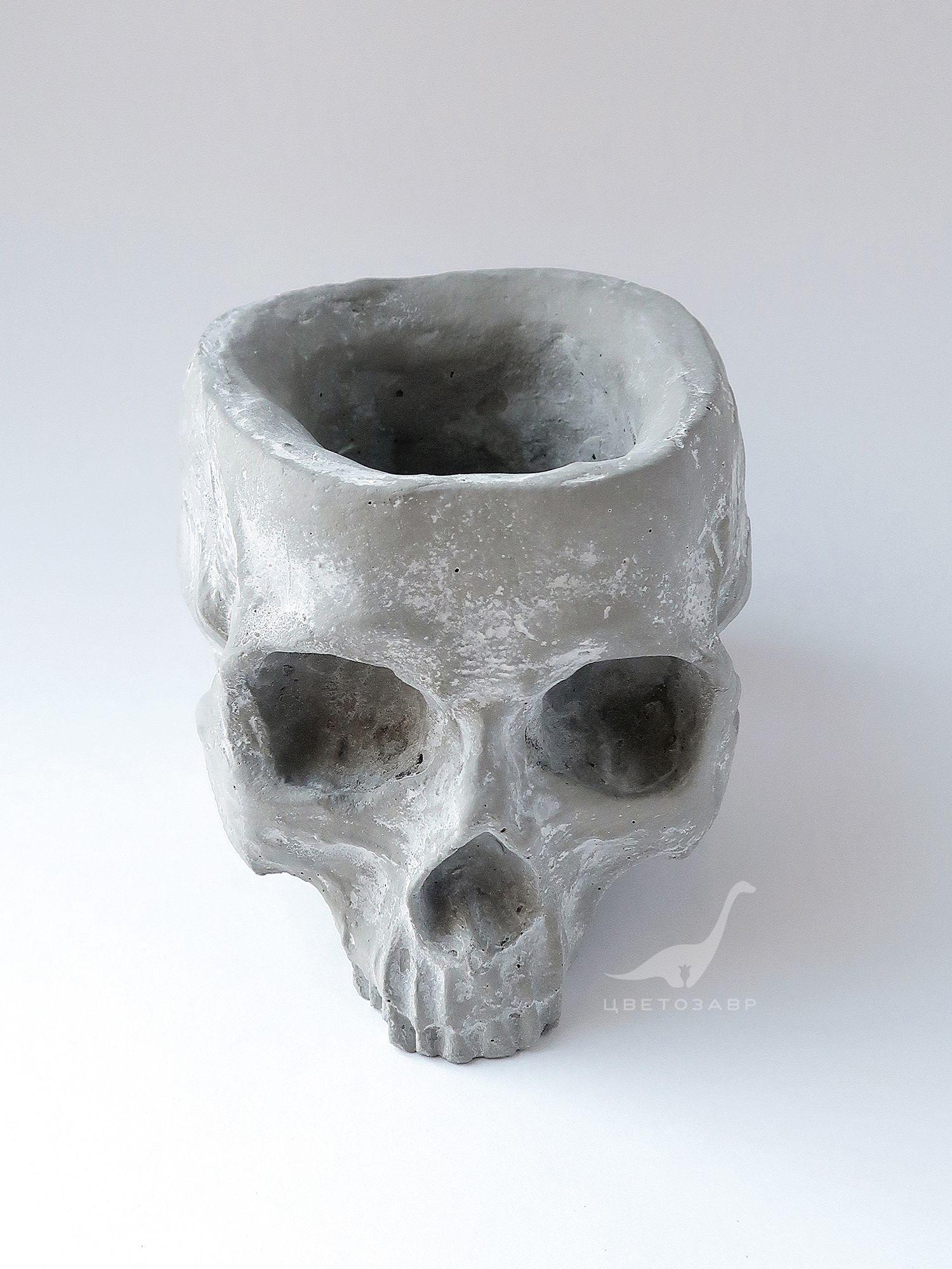 """Бетонный горшок """"Череп"""" Concrete-planter-skull"""
