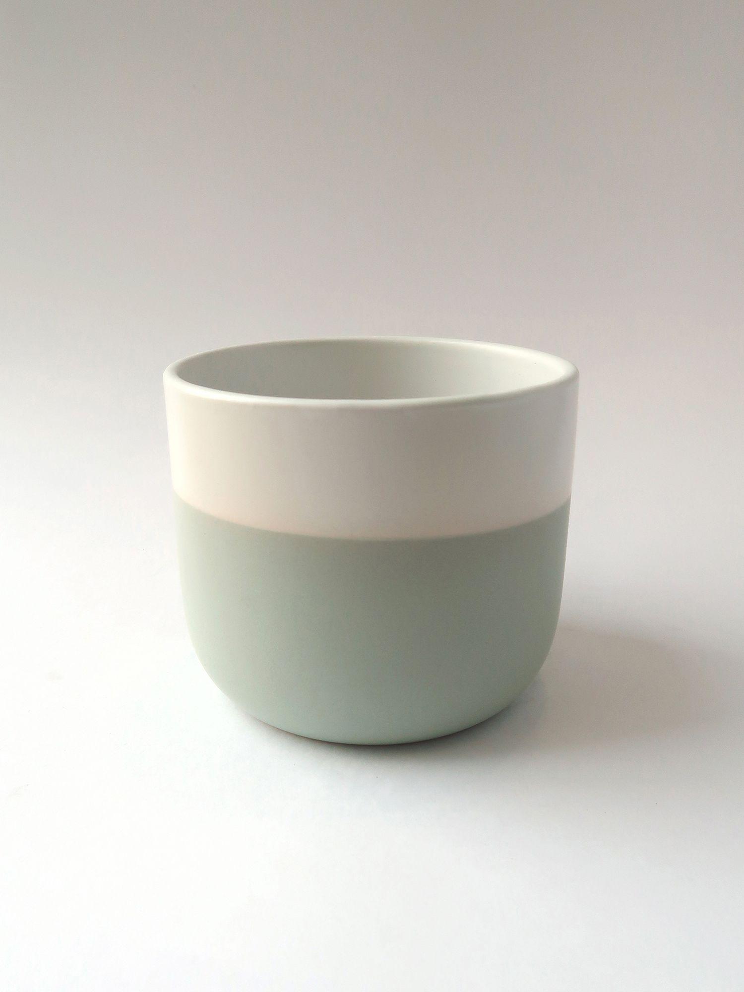 Керамическое кашпо бело-оливковое