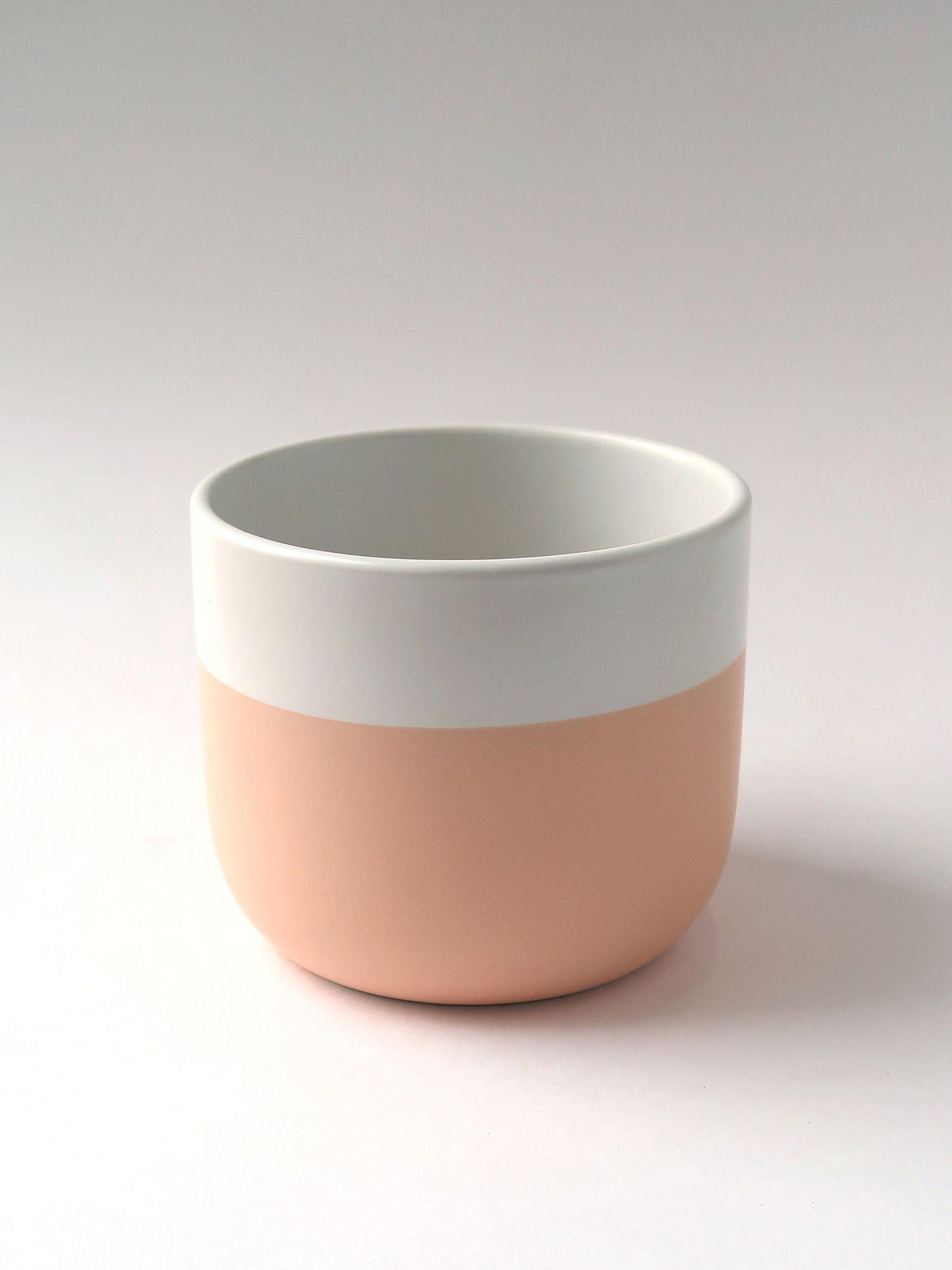 Керамическое кашпо бело-розовое